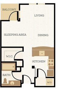 Andover Floor Plan, Studio, 1 Bath 553 SF - Chelsea at Juanita Village | Studio, 1 & 2 Bedroom Apartments for Rent | Kirkland, WA 98034