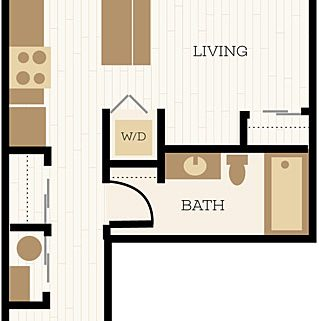 Winchester Floor Plan, Studio, 1 Bath 448 - 552 SF - Chelsea at Juanita Village | Studio, 1 & 2 Bedroom Apartments for Rent | Kirkland, WA 98034