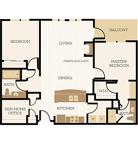 Bexley Floor Plan, 2 Bedroom, 1.75 Bath, Den 1120-1132 SF - Chelsea at Juanita Village | Studio, 1 & 2 Bedroom Apartments for Rent | Kirkland, WA 98034