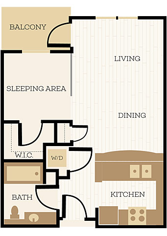 Winchester Floor Plan, Studio, 1 Bath 557 SF - Chelsea at Juanita Village | Studio, 1 & 2 Bedroom Apartments for Rent | Kirkland, WA 98034