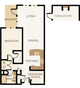 Newcastle Floor Plan, 1 Bedroom, 1 Bath, Den 959-1038 SF - Chelsea at Juanita Village | Studio, 1 & 2 Bedroom Apartments for Rent | Kirkland, WA 98034