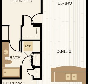 Cambridge Floor Plan, 1 Bedroom, 1 Bath, Den 832 SF - Chelsea at Juanita Village | Studio, 1 & 2 Bedroom Apartments for Rent | Kirkland, WA 98034
