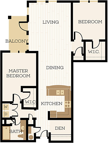 Bexley Floor Plan, 2 Bedroom, 1 Bath, Den 1141 SF - Chelsea at Juanita Village | Studio, 1 & 2 Bedroom Apartments for Rent | Kirkland, WA 98034