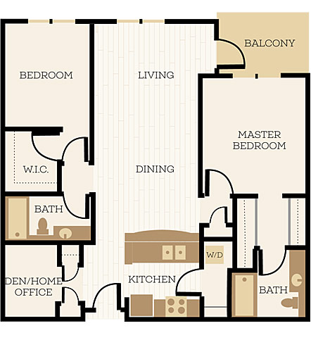 Bexley Floor Plan, 2 Bedroom, 2 Bath 1141 - 1156 SF - Chelsea at Juanita Village | Studio, 1 & 2 Bedroom Apartments for Rent | Kirkland, WA 98034