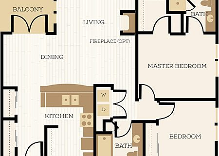 Wiltshire Floor Plan, 2 Bedroom, 1.75 Bath 1107 - 1156 SF - Chelsea at Juanita Village | Studio, 1 & 2 Bedroom Apartments for Rent | Kirkland, WA 98034