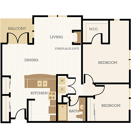 Huntington Floor Plan, 2 Bedroom, 1 Bath 1083 - 1090 SF - Chelsea at Juanita Village | Studio, 1 & 2 Bedroom Apartments for Rent | Kirkland, WA 98034