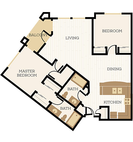 Kingsbridge Floor Plan, 2 Bedroom, 2 Bath 1063 SF - Chelsea at Juanita Village | Studio, 1 & 2 Bedroom Apartments for Rent | Kirkland, WA 98034