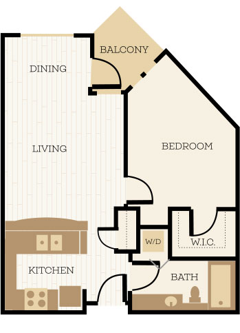 Lancaster Floor Plan, 1 Bedroom, 1 Bath, Den 689 SF - Chelsea at Juanita Village | Studio, 1 & 2 Bedroom Apartments for Rent | Kirkland, WA 98034