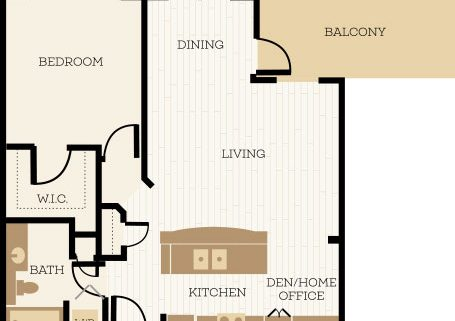 Newbury Floor Plan, 1 Bedroom, 1 Bath 853 SF - Chelsea at Juanita Village | Studio, 1 & 2 Bedroom Apartments for Rent | Kirkland, WA 98034