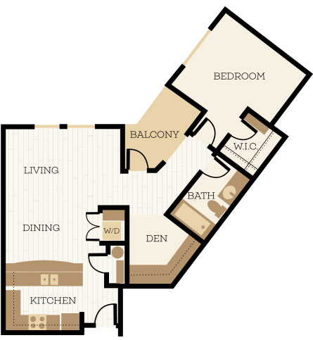 Oxford Floor Plan, 1 Bedroom, 1 Bath, 888 SF - Chelsea at Juanita Village | Studio, 1 & 2 Bedroom Apartments for Rent | Kirkland, WA 98034