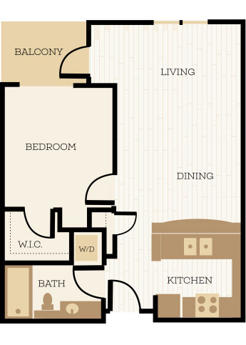 Prescott Floor Plan, 1 Bedroom, 1 Bath 691 SF - Chelsea at Juanita Village | Studio, 1 & 2 Bedroom Apartments for Rent | Kirkland, WA 98034