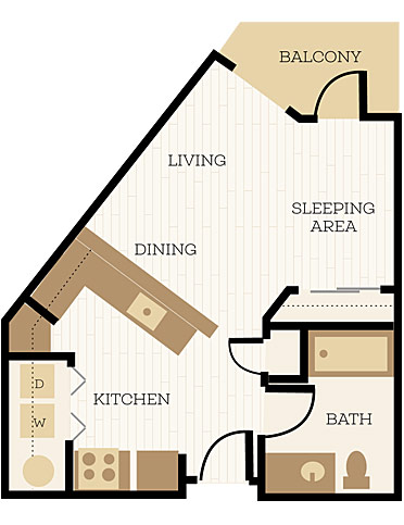 Royston Floor Plan, Studio, 1 Bath 517 SF - Chelsea at Juanita Village | Studio, 1 & 2 Bedroom Apartments for Rent | Kirkland, WA 98034