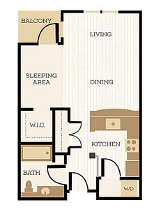 Canterbury Floor Plan, Studio, 1 Bath 560 SF - Chelsea at Juanita Village | Studio, 1 & 2 Bedroom Apartments for Rent | Kirkland, WA 98034