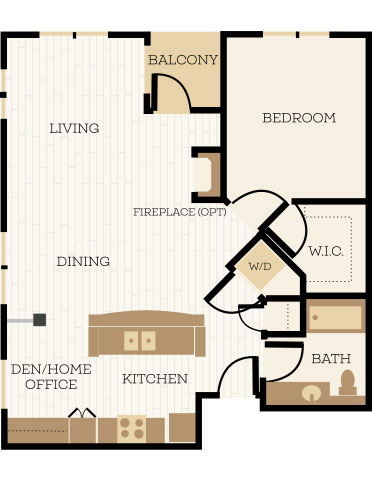 Prescott Floor Plan, 1 Bedroom, 1 Bath, Den 843-909 SF - Chelsea at Juanita Village | Studio, 1 & 2 Bedroom Apartments for Rent | Kirkland, WA 98034