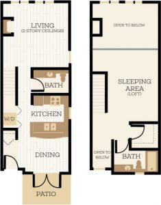 York Floor Plan, 1 Bedroom, 1.5 Bath 990-1015 SF - Chelsea at Juanita Village | Studio, 1 & 2 Bedroom Apartments for Rent | Kirkland, WA 98034