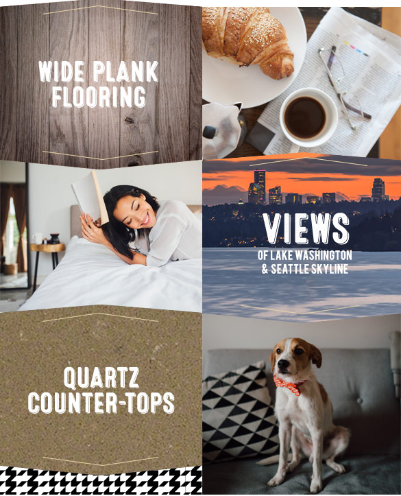 Wide Plank Flooring, Views of Lake Washington & Seattle Skyline, Quartz Counter-tops - Chelsea at Juanita Village | Studio, 1 & 2 Bedroom Apartments for Rent | Kirkland, WA 98034